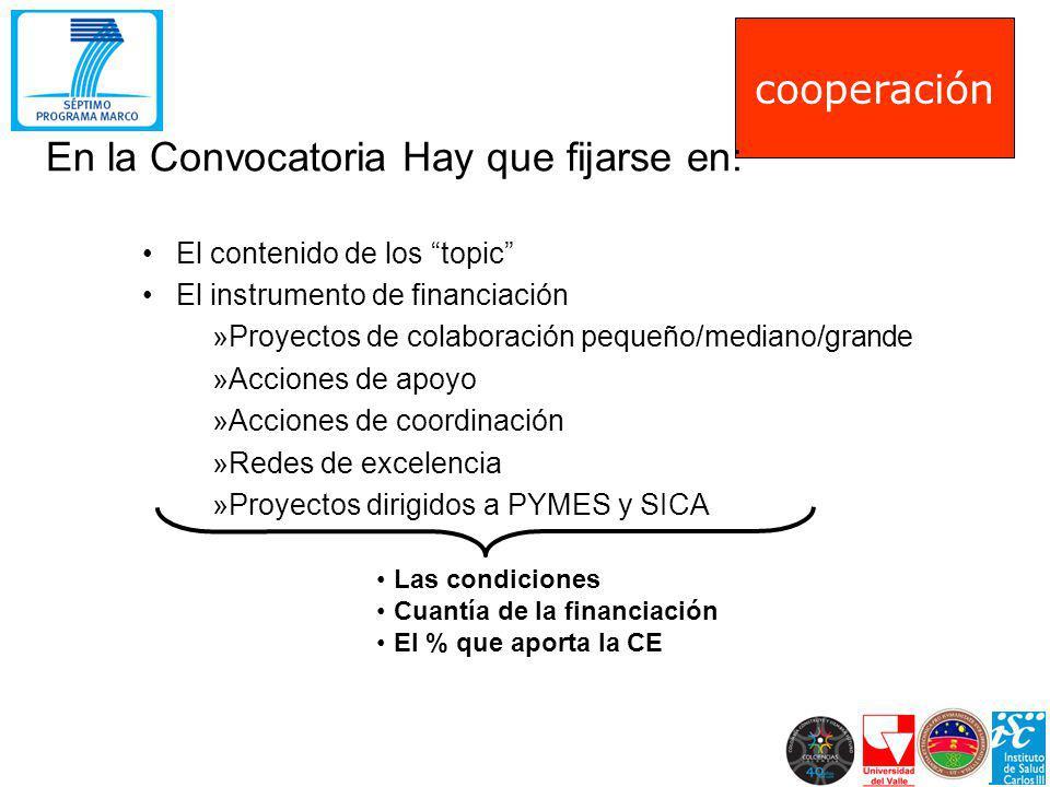 El contenido de los topic El instrumento de financiación »Proyectos de colaboración pequeño/mediano/grande »Acciones de apoyo »Acciones de coordinació