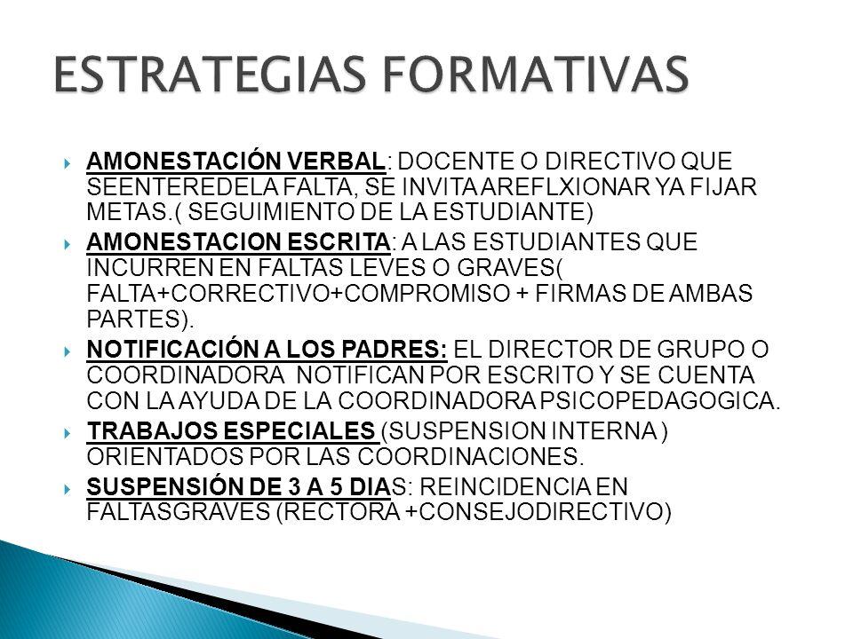 AMONESTACIÓN VERBAL: DOCENTE O DIRECTIVO QUE SEENTEREDELA FALTA, SE INVITA AREFLXIONAR YA FIJAR METAS.( SEGUIMIENTO DE LA ESTUDIANTE) AMONESTACION ESCRITA: A LAS ESTUDIANTES QUE INCURREN EN FALTAS LEVES O GRAVES( FALTA+CORRECTIVO+COMPROMISO + FIRMAS DE AMBAS PARTES).
