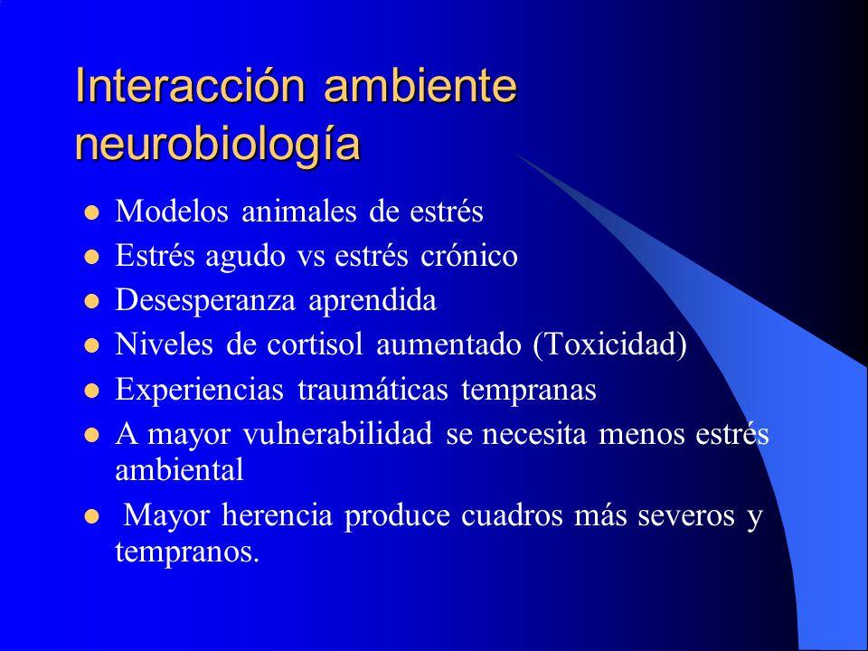 Interacción ambiente neurobiología Modelos animales de estrés Estrés agudo vs estrés crónico Desesperanza aprendida Niveles de cortisol aumentado (Tox