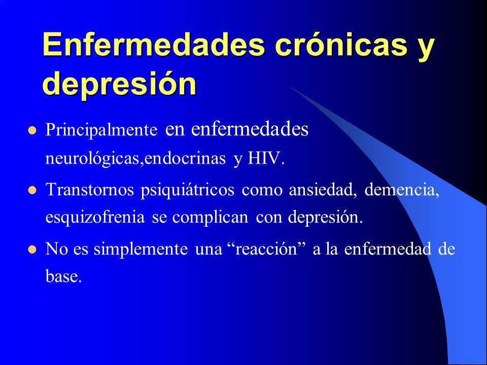 Enfermedades crónicas y depresión Principalmente en enfermedades neurológicas,endocrinas y HIV. Transtornos psiquiátricos como ansiedad, demencia, esq