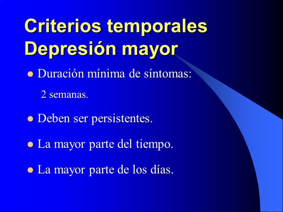 Criterios temporales Depresión mayor Duración mínima de síntomas: 2 semanas. Deben ser persistentes. La mayor parte del tiempo. La mayor parte de los