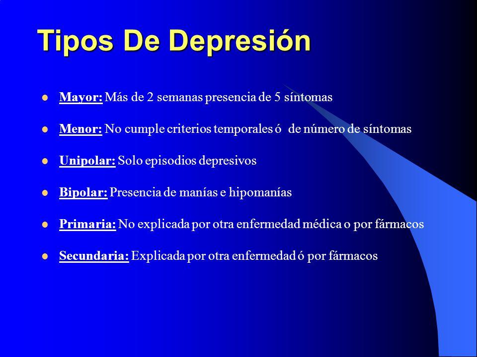 Tipos De Depresión Mayor: Más de 2 semanas presencia de 5 síntomas Menor: No cumple criterios temporales ó de número de síntomas Unipolar: Solo episod