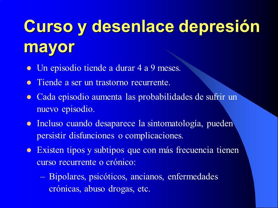 Curso y desenlace depresión mayor Un episodio tiende a durar 4 a 9 meses. Tiende a ser un trastorno recurrente. Cada episodio aumenta las probabilidad