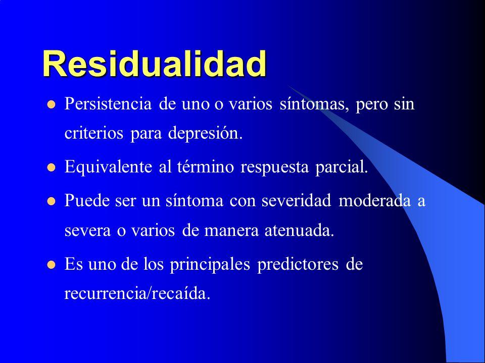 Residualidad Persistencia de uno o varios síntomas, pero sin criterios para depresión. Equivalente al término respuesta parcial. Puede ser un síntoma