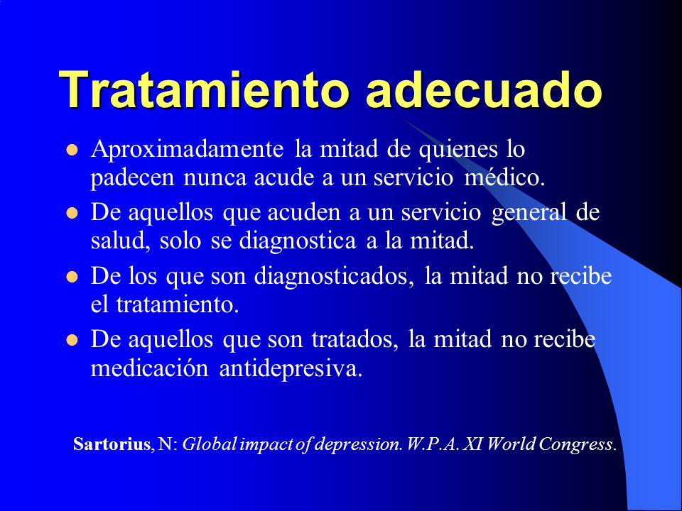 Tratamiento adecuado Aproximadamente la mitad de quienes lo padecen nunca acude a un servicio médico. De aquellos que acuden a un servicio general de