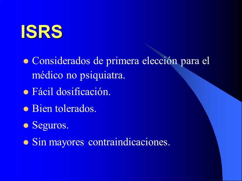 ISRS Considerados de primera elección para el médico no psiquiatra. Fácil dosificación. Bien tolerados. Seguros. Sin mayores contraindicaciones.