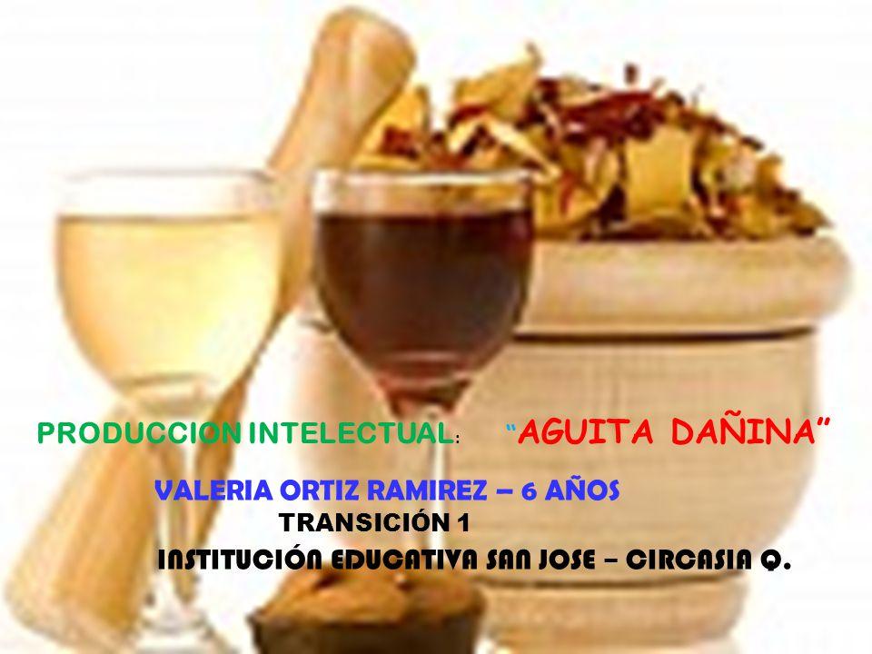 PRODUCCION INTELECTUAL : AGUITA DAÑINA VALERIA ORTIZ RAMIREZ – 6 AÑOS TRANSICIÓN 1 INSTITUCIÓN EDUCATIVA SAN JOSE – CIRCASIA Q.