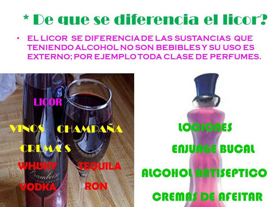 * De que se diferencia el licor.