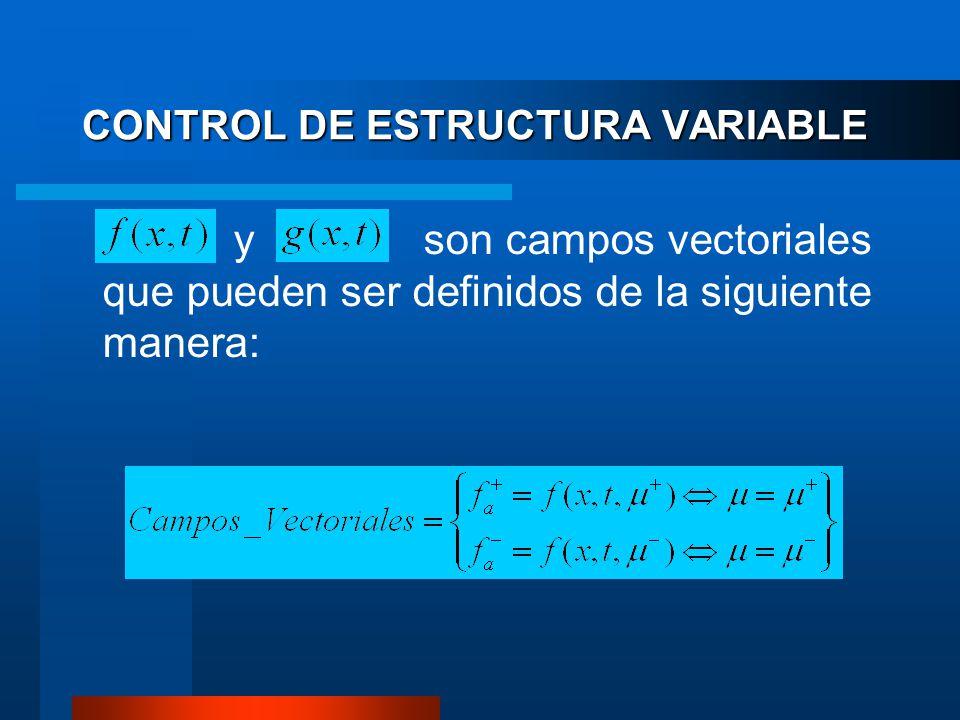 CONTROL DE ESTRUCTURA VARIABLE y son campos vectoriales que pueden ser definidos de la siguiente manera: