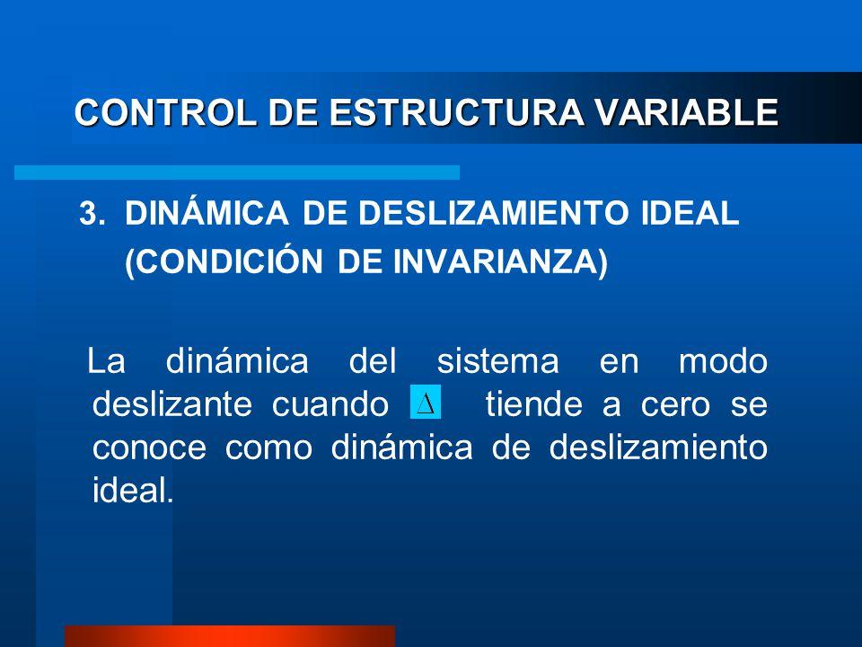 CONTROL DE ESTRUCTURA VARIABLE 3. DINÁMICA DE DESLIZAMIENTO IDEAL (CONDICIÓN DE INVARIANZA) La dinámica del sistema en modo deslizante cuando tiende a