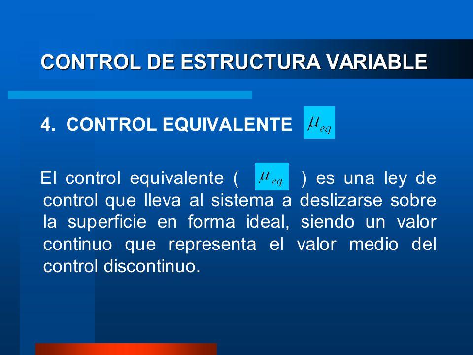CONTROL DE ESTRUCTURA VARIABLE 4. CONTROL EQUIVALENTE El control equivalente ( ) es una ley de control que lleva al sistema a deslizarse sobre la supe
