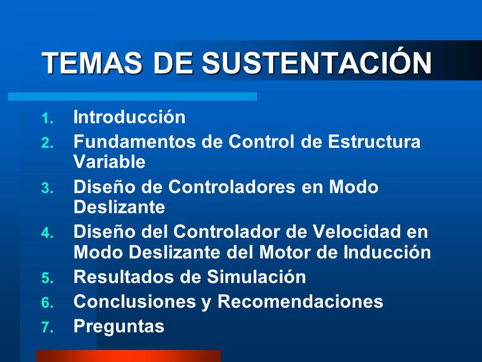TEMAS DE SUSTENTACIÓN 1. Introducción 2. Fundamentos de Control de Estructura Variable 3. Diseño de Controladores en Modo Deslizante 4. Diseño del Con