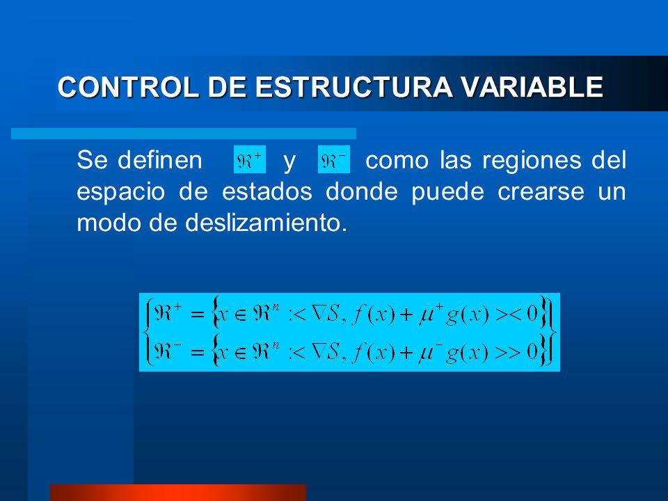 CONTROL DE ESTRUCTURA VARIABLE Se definen y como las regiones del espacio de estados donde puede crearse un modo de deslizamiento.