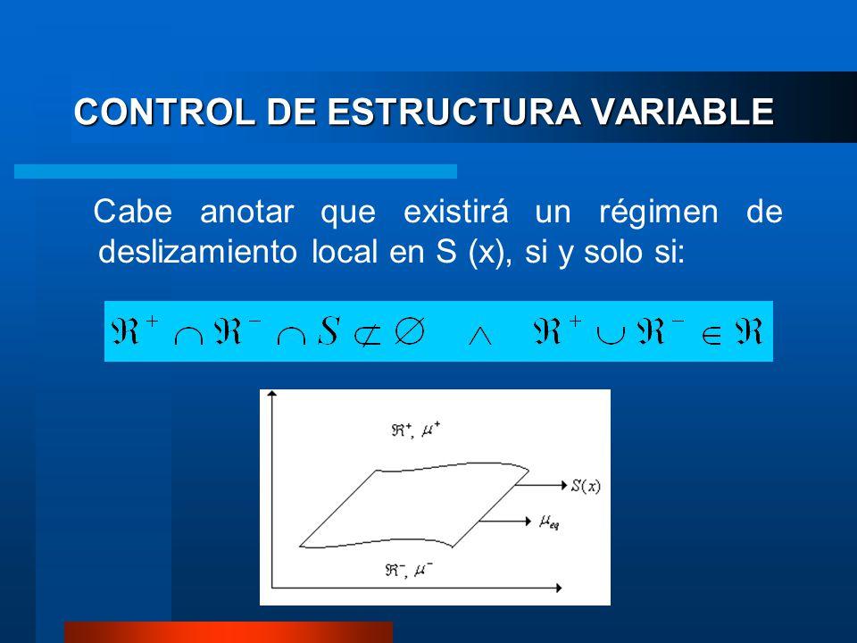 CONTROL DE ESTRUCTURA VARIABLE Cabe anotar que existirá un régimen de deslizamiento local en S (x), si y solo si: