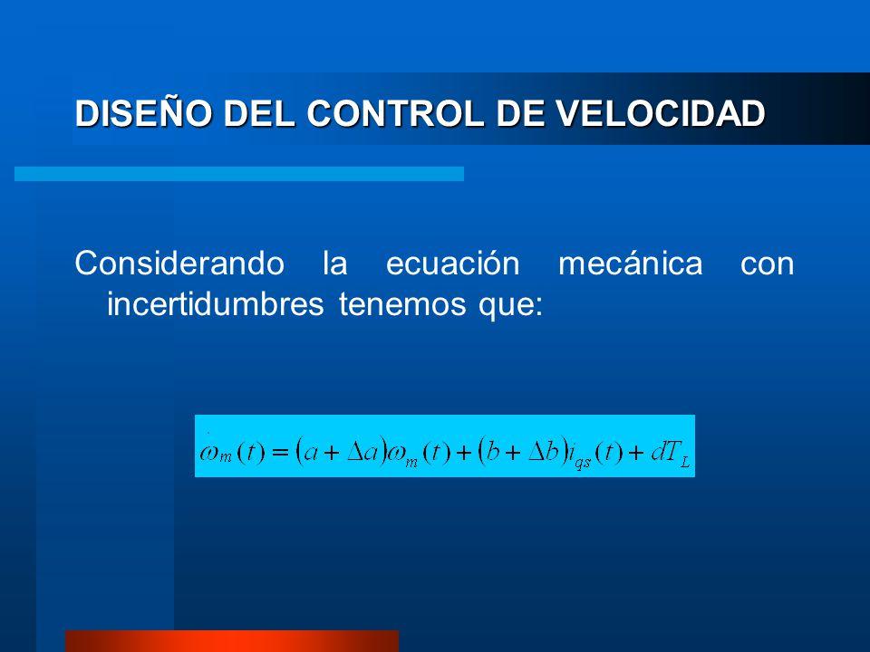 DISEÑO DEL CONTROL DE VELOCIDAD Considerando la ecuación mecánica con incertidumbres tenemos que: