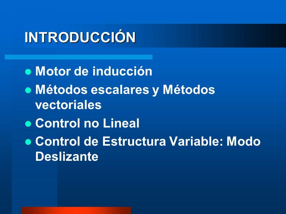 INTRODUCCIÓN Motor de inducción Métodos escalares y Métodos vectoriales Control no Lineal Control de Estructura Variable: Modo Deslizante