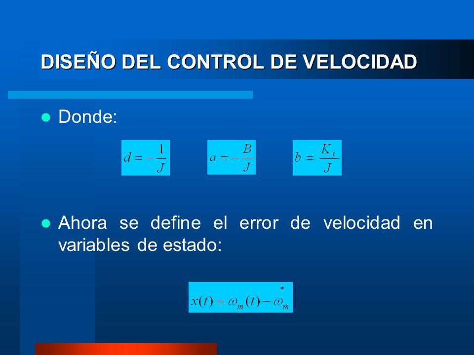 Donde: Ahora se define el error de velocidad en variables de estado: DISEÑO DEL CONTROL DE VELOCIDAD