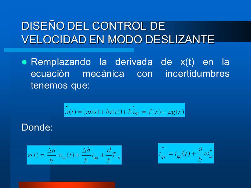 DISEÑO DEL CONTROL DE VELOCIDAD EN MODO DESLIZANTE Remplazando la derivada de x(t) en la ecuación mecánica con incertidumbres tenemos que: Donde: