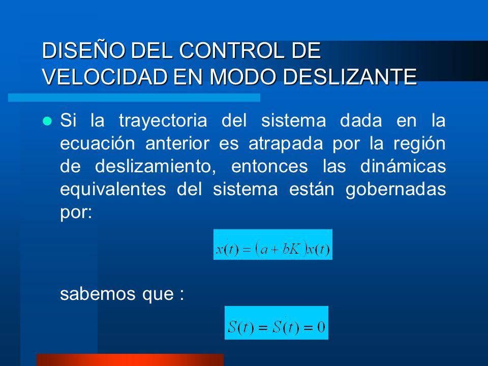 DISEÑO DEL CONTROL DE VELOCIDAD EN MODO DESLIZANTE Si la trayectoria del sistema dada en la ecuación anterior es atrapada por la región de deslizamien
