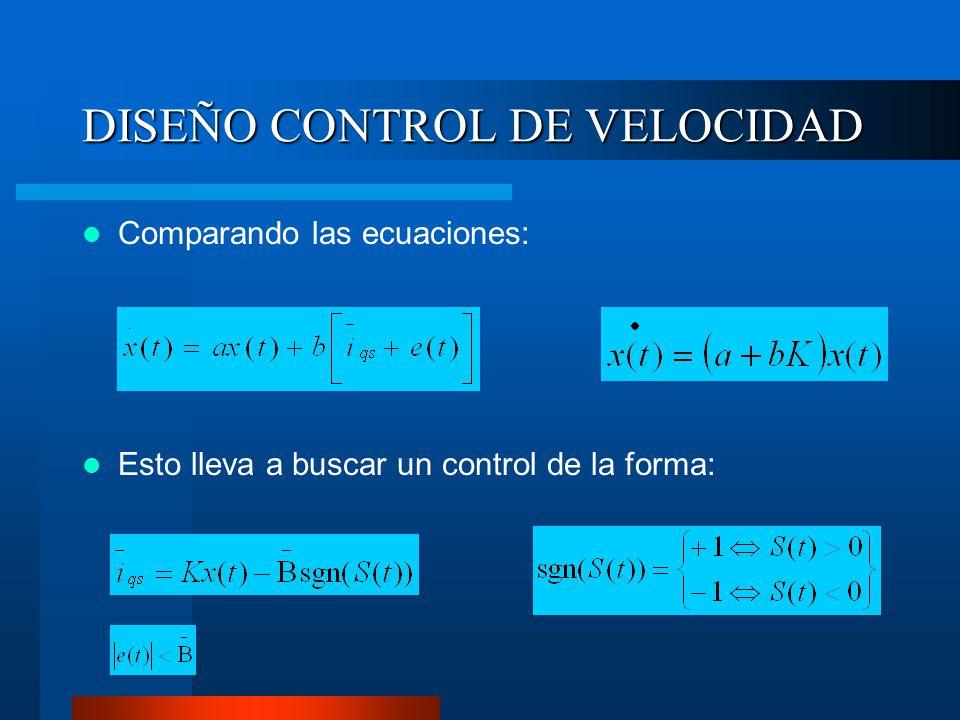 DISEÑO CONTROL DE VELOCIDAD Comparando las ecuaciones: Esto lleva a buscar un control de la forma: