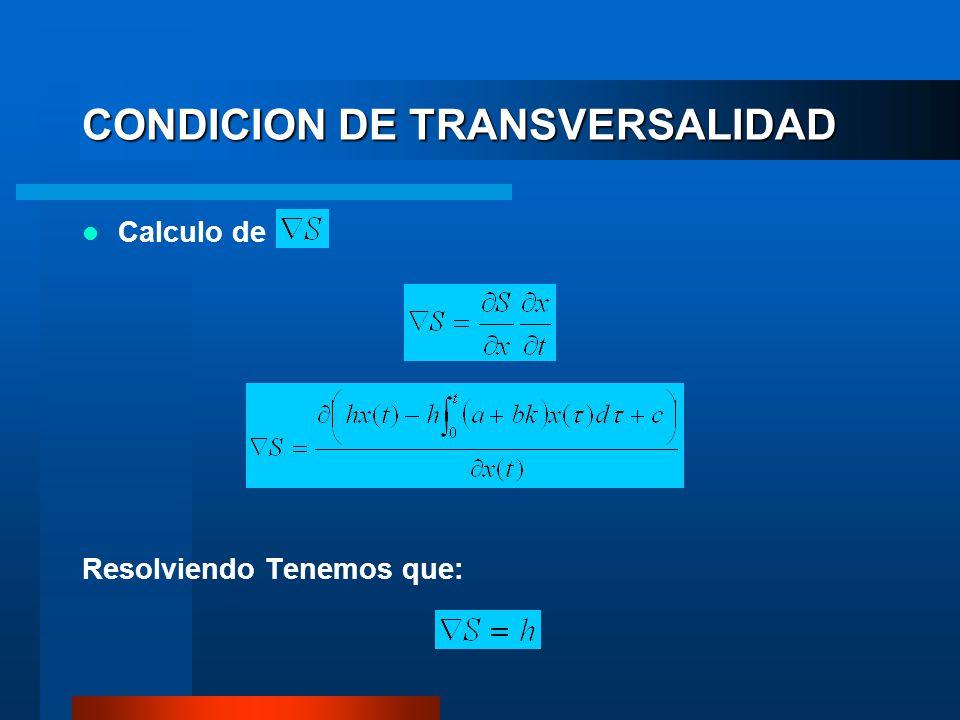 CONDICION DE TRANSVERSALIDAD Calculo de Resolviendo Tenemos que: