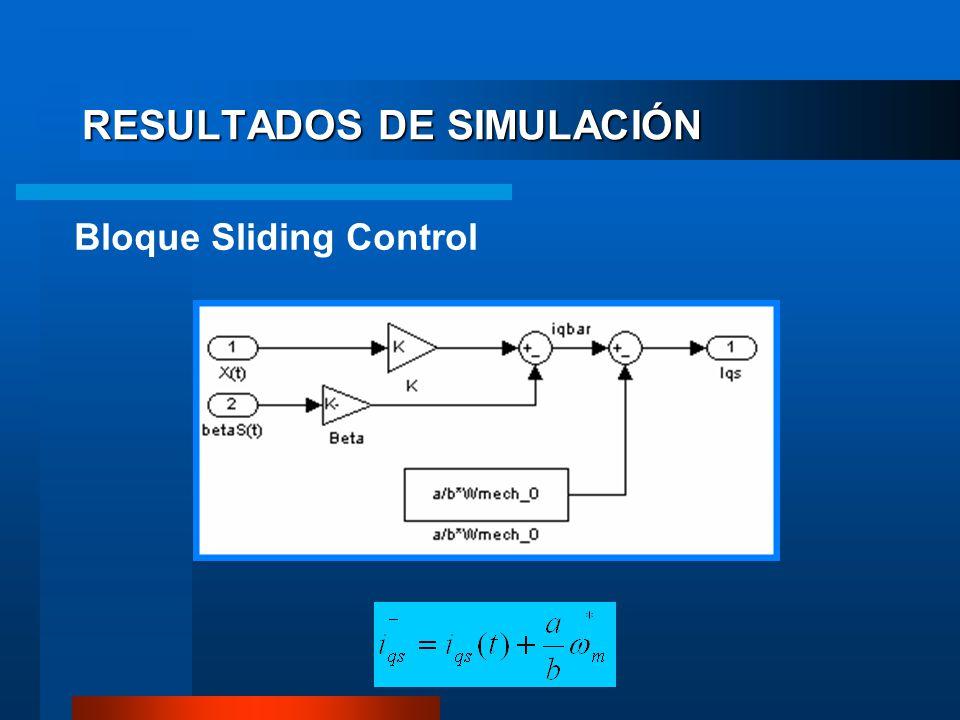 RESULTADOS DE SIMULACIÓN Bloque Sliding Control