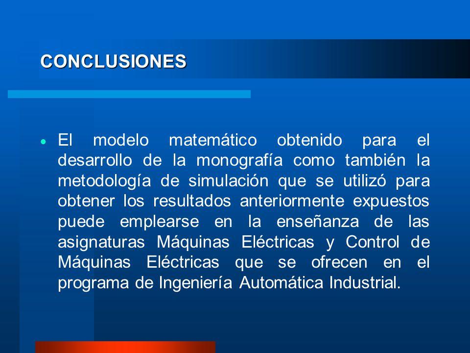 CONCLUSIONES El modelo matemático obtenido para el desarrollo de la monografía como también la metodología de simulación que se utilizó para obtener l