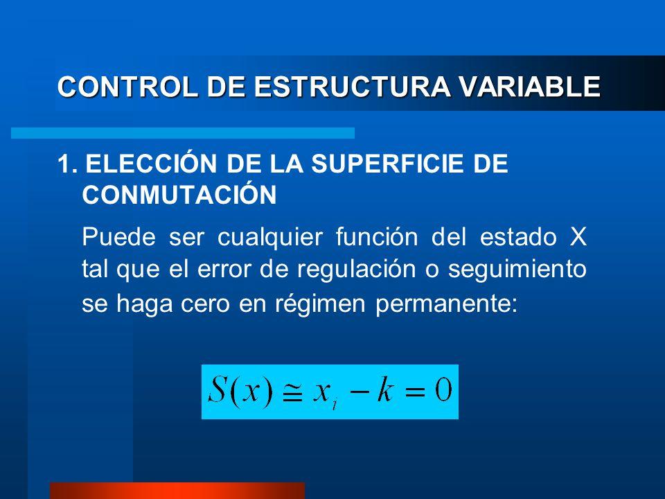 CONTROL DE ESTRUCTURA VARIABLE 1. ELECCIÓN DE LA SUPERFICIE DE CONMUTACIÓN Puede ser cualquier función del estado X tal que el error de regulación o s