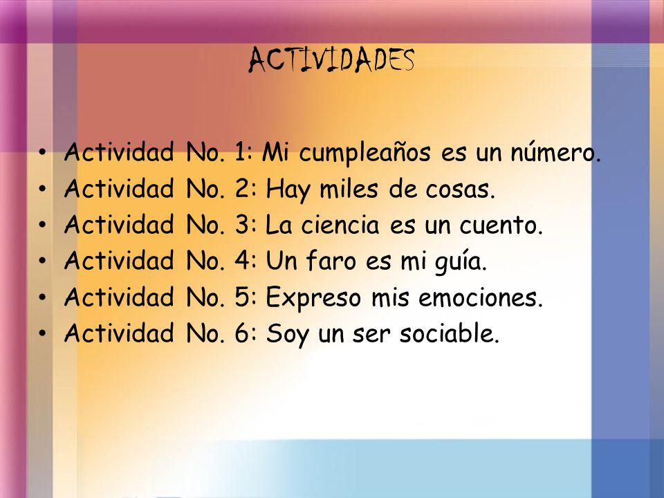 ACTIVIDADES Actividad No. 1: Mi cumpleaños es un número. Actividad No. 2: Hay miles de cosas. Actividad No. 3: La ciencia es un cuento. Actividad No.