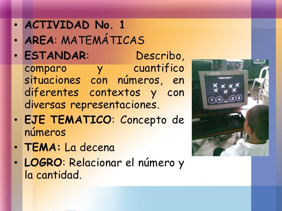 ACTIVIDAD No. 1 AREA: MATEMÁTICAS ESTANDAR: Describo, comparo y cuantifico situaciones con números, en diferentes contextos y con diversas representac