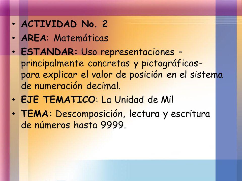 ACTIVIDAD No. 2 AREA: Matemáticas ESTANDAR: Uso representaciones – principalmente concretas y pictográficas- para explicar el valor de posición en el