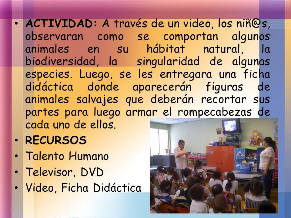 ACTIVIDAD: A través de un video, los niñ@s, observaran como se comportan algunos animales en su hábitat natural, la biodiversidad, la singularidad de