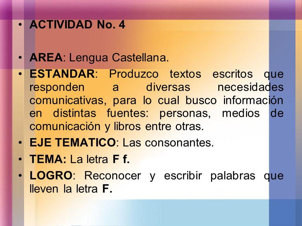 ACTIVIDAD No. 4 AREA: Lengua Castellana. ESTANDAR: Produzco textos escritos que responden a diversas necesidades comunicativas, para lo cual busco inf