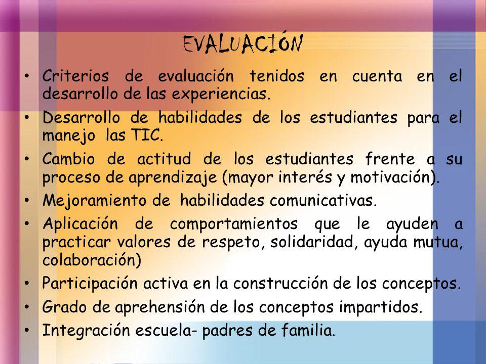 EVALUACIÓN Criterios de evaluación tenidos en cuenta en el desarrollo de las experiencias. Desarrollo de habilidades de los estudiantes para el manejo