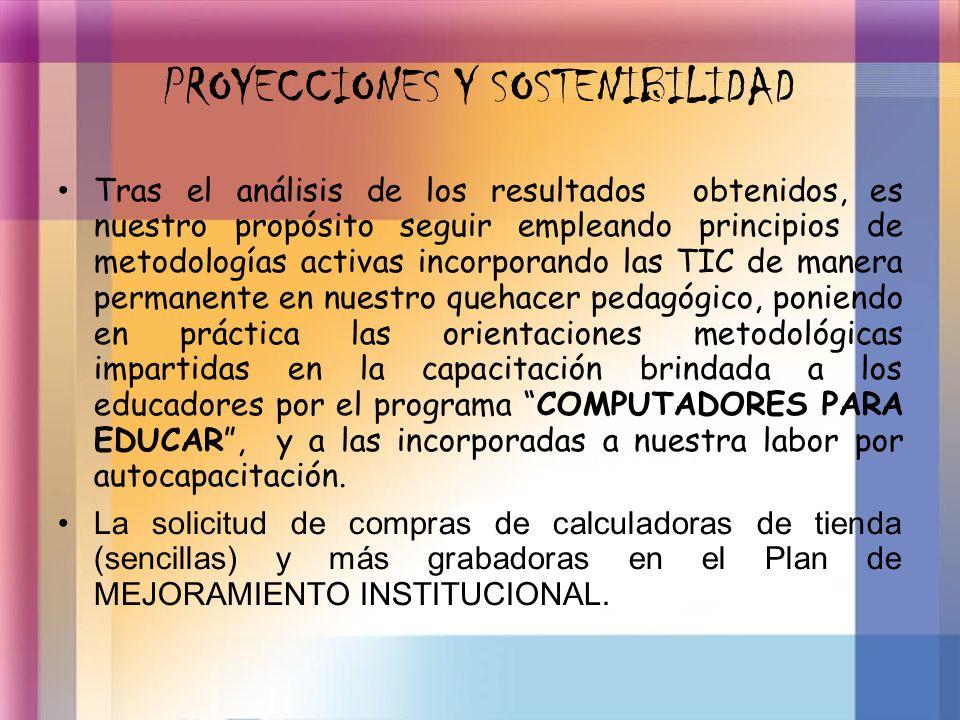 PROYECCIONES Y SOSTENIBILIDAD Tras el análisis de los resultados obtenidos, es nuestro propósito seguir empleando principios de metodologías activas i