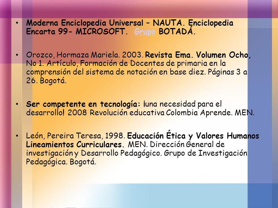 Moderna Enciclopedia Universal – NAUTA. Enciclopedia Encarta 99- MICROSOFT. Grupo BOTADÁ.Grupo Orozco, Hormaza Mariela. 2003. Revista Ema. Volumen Och