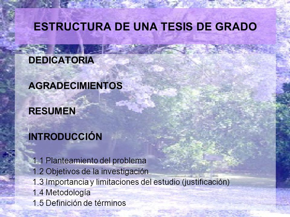 ESTRUCTURA DE UNA TESIS DE GRADO DEDICATORIA AGRADECIMIENTOS RESUMEN INTRODUCCIÓN 1.1 Planteamiento del problema 1.2 Objetivos de la investigación 1.3