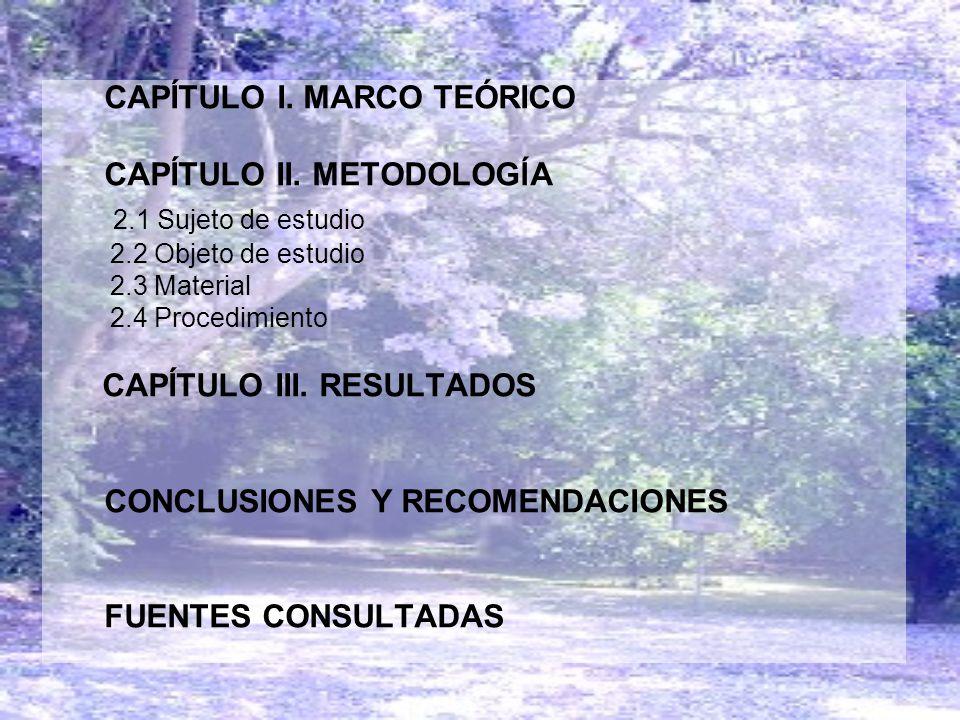 CAPÍTULO I. MARCO TEÓRICO CAPÍTULO II. METODOLOGĺA 2.1 Sujeto de estudio 2.2 Objeto de estudio 2.3 Material 2.4 Procedimiento CAPÍTULO III. RESULTADOS