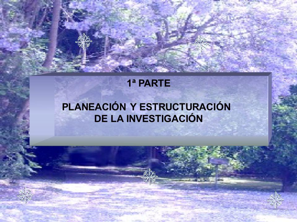 1ª PARTE PLANEACIÓN Y ESTRUCTURACIÓN DE LA INVESTIGACIÓN