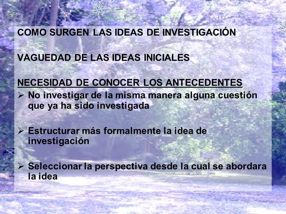 COMO SURGEN LAS IDEAS DE INVESTIGACIÓN VAGUEDAD DE LAS IDEAS INICIALES NECESIDAD DE CONOCER LOS ANTECEDENTES No investigar de la misma manera alguna c