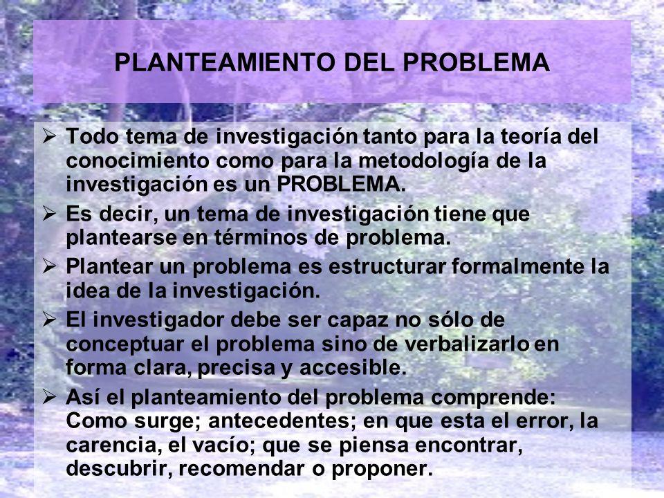 PLANTEAMIENTO DEL PROBLEMA Todo tema de investigación tanto para la teoría del conocimiento como para la metodología de la investigación es un PROBLEM