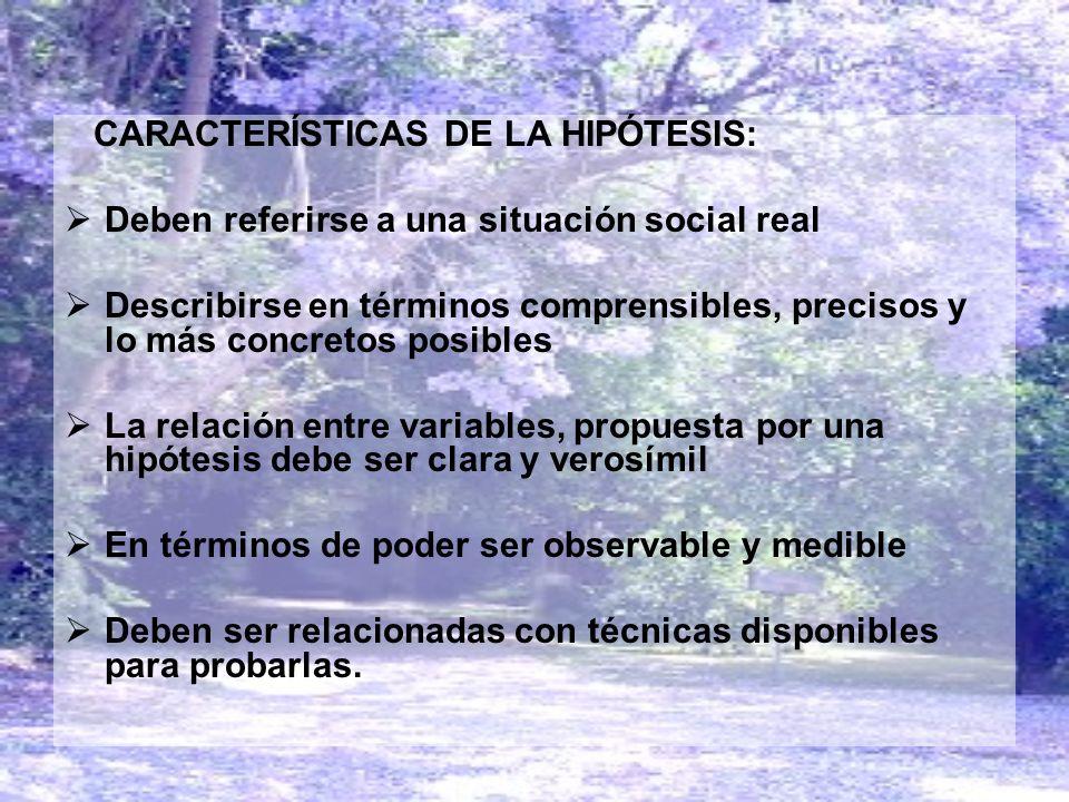 CARACTERÍSTICAS DE LA HIPÓTESIS: Deben referirse a una situación social real Describirse en términos comprensibles, precisos y lo más concretos posibl