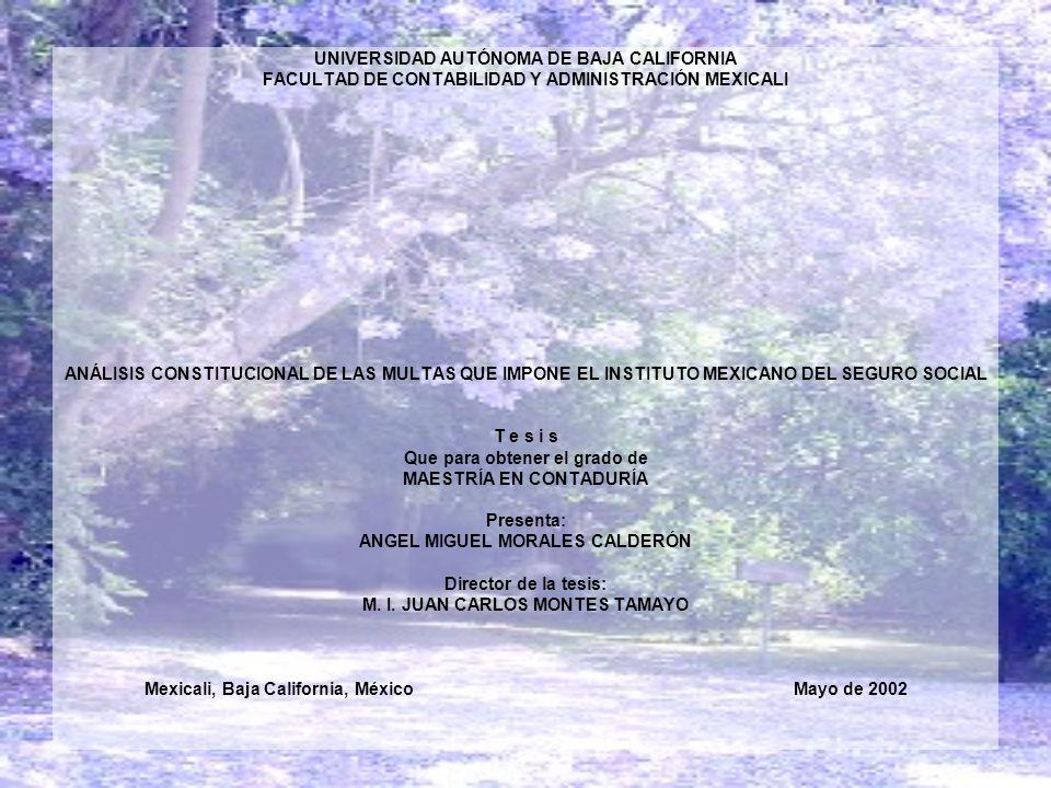 UNIVERSIDAD AUTÓNOMA DE BAJA CALIFORNIA FACULTAD DE CONTABILIDAD Y ADMINISTRACIÓN MEXICALI ANÁLISIS CONSTITUCIONAL DE LAS MULTAS QUE IMPONE EL INSTITU