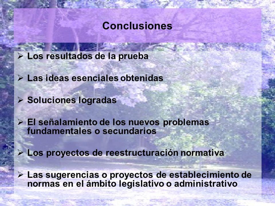 Conclusiones Los resultados de la prueba Las ideas esenciales obtenidas Soluciones logradas El señalamiento de los nuevos problemas fundamentales o se