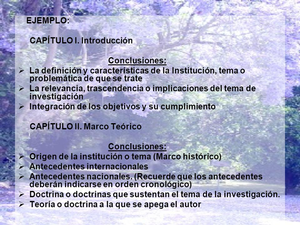 EJEMPLO: CAPÍTULO I. Introducción Conclusiones: La definición y características de la Institución, tema o problemática de que se trate La relevancia,