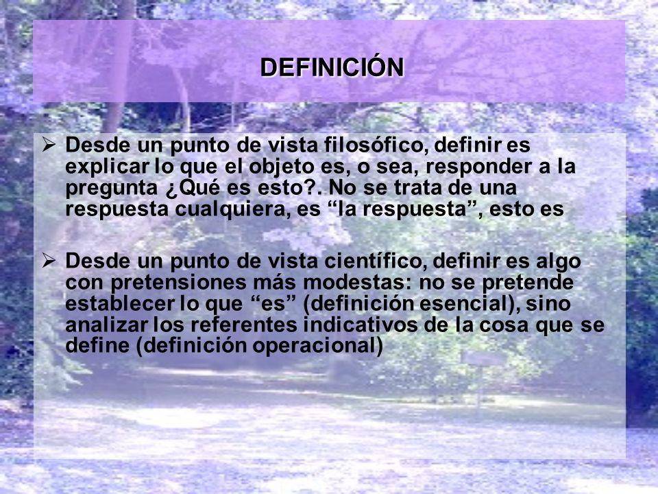 DEFINICIÓN DEFINICIÓN Desde un punto de vista filosófico, definir es explicar lo que el objeto es, o sea, responder a la pregunta ¿Qué es esto?. No se