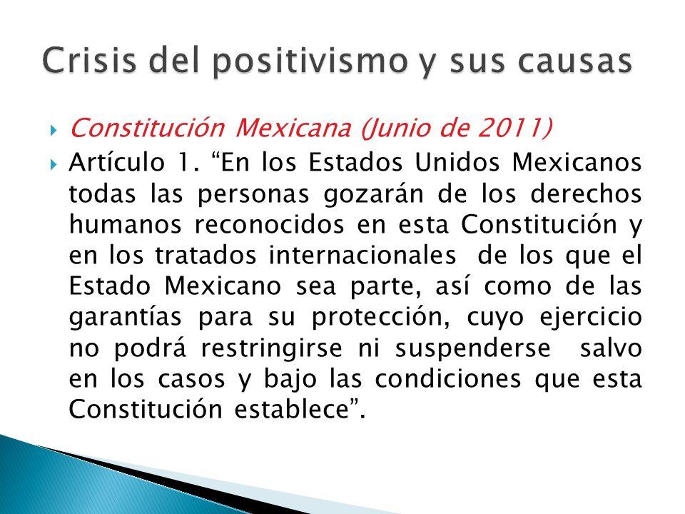 Constitución Mexicana (Junio de 2011) Artículo 1. En los Estados Unidos Mexicanos todas las personas gozarán de los derechos humanos reconocidos en es