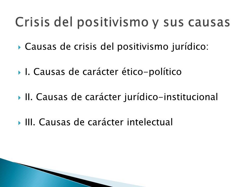 Causas de crisis del positivismo jurídico: I. Causas de carácter ético-político II. Causas de carácter jurídico-institucional III. Causas de carácter