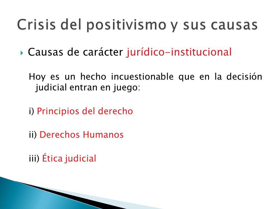 Causas de carácter jurídico-institucional Hoy es un hecho incuestionable que en la decisión judicial entran en juego: i) Principios del derecho ii) De