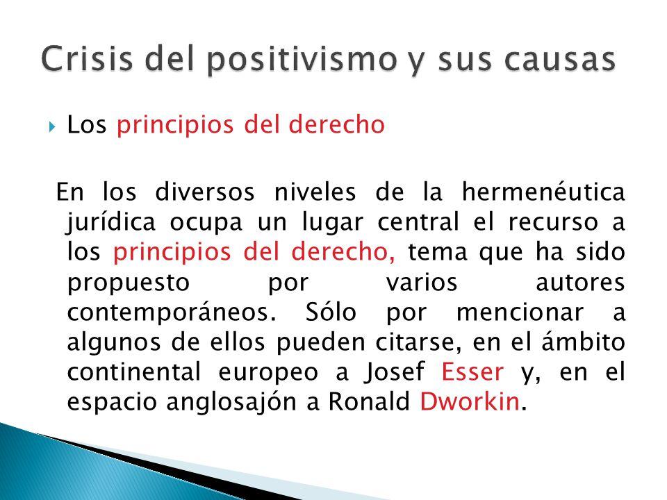 Los principios del derecho En los diversos niveles de la hermenéutica jurídica ocupa un lugar central el recurso a los principios del derecho, tema qu